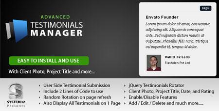 اسکریپت نظرات مشتریان Testimonial Manager نسخه 1.3