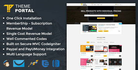 اسکریپت مارکت و فروشگاه قالب و اسکریپت Theme Portal Marketplace نسخه 1.0