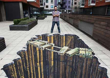 طرح های سه بعدی شگفت انگیز در کف خیابان +تصاویر