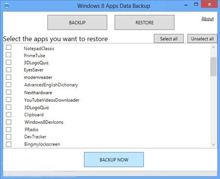 نرم افزار تهیه بکاپ از اپلیکیشن های دانلود شده از Store ویندوز هشت - Windows 8 Apps Data Backup