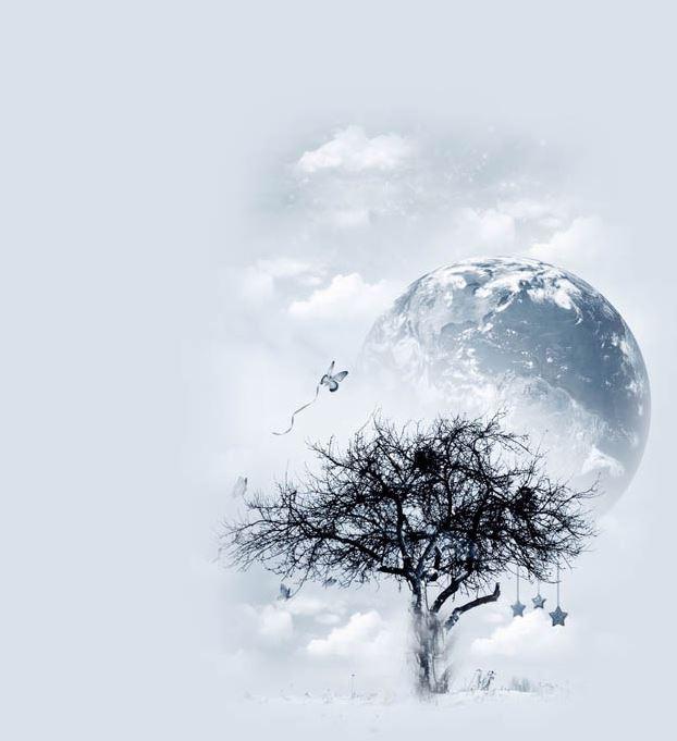 قالب درخت و ماه برای بلاگ اسکای
