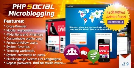 اسکریپت جامعه مجازی و میکروبلاگ PHP Social Microblogging v2.9